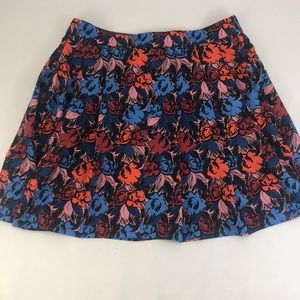 J. Crew Bold Floral Print Pleated Skirt